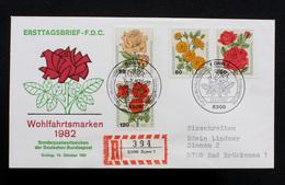 """FDC Bund, BRD, Mi.-Nr. 1150-1153, Ersttagsbrief """"Wohlfahrtsmarken 1982 - Gartenrosen"""" - FDC: Brieven"""