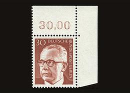 Berlin 1970, Michel-Nr. 363, Bundespräsident Dr. Gustav Heinemann, 30 Pf., Eckrand Rechts Oben, Postfrisch - Ungebraucht