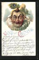 Lithographie Gruss Vom Carneval, Kostümierter Mit Pfauenfeder Am Hut - Carnival