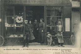 Postcard Dealer Earthenware Faience During Bombing WWI  Berth Family Deltiology Griffin Dog Chien Griffon - Magasins