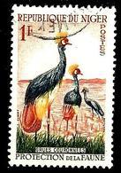 NIGER 97° 1f Orange, Vert Foncé, Gris-bleu Et Jaune Protection De La Faune Grues Couronnées (10% De La Cote + 0,15) - Niger (1960-...)