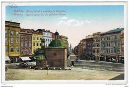 """KRAKAU:  KAUPTEINGANG  UND  ST. ADALBERT  KIRCHE  -  """" ZENSUNRIEN """"  -  NACH  OSTERREICH  -  KLEINFORMAT - Polonia"""