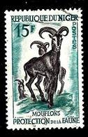 NIGER 101° 15f Bleu-vert, Vert Foncé Et Violet-gris Protection De La Faune Mouflons (10% De La Cote + 0,15) - Niger (1960-...)