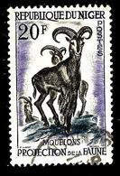 NIGER 102° 20f Violet, Gris Foncé Et Bleu-gris Protection De La Faune Mouflons (10% De La Cote + 0,15) - Niger (1960-...)