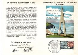 Nungesser Et Coli 1967 - Carte Double Monument Etretat - Cartes-Maximum