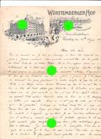 Nürnberg  Nuremberg 1899 Hotel Württemberger Hof / Direct. F Hillengass / RARE - Allemagne