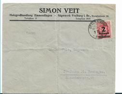 Inf342/ INFLA - Firmenbrief, Sägewerk Freiburg /Br. 9.10.23 (Mi.Nr. 309A) Stempel Ottersdorf - Briefe U. Dokumente