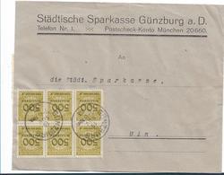 Inf346/ INFLA - Günzburg A.D., Bankbrief 19.11.23 M. Mi. 324 (20x) 6-er-Block Vorderseitig, 14-er Einheit Rückseitig - Briefe U. Dokumente