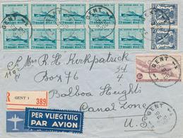 832/28 - Lettre AVION Recommandée TP Douglas , Ostende-Douvres Et Petit Sceau GENT 1950 Vers CANAL ZONE U.S. - Airmail