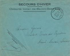 """833/28 - SECOURS D' HIVER - Enveloppe à Entete """" Comité Local De SAINT SERVAIS """" NAMUR 1943 - Guerre 40-45"""