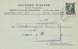 835/28 - SECOURS D' HIVER - Carte TP Col Ouvert Entete Comité Local De FARCIENNES 1942 - Guerre 40-45