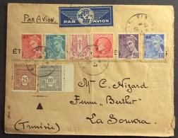 V77 621 - 622 - 657 à 660 - 672 - 676 Vincennes Vers Tunisie 8/2/1945 Par Avion - Postmark Collection (Covers)