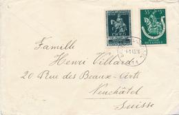 836/28 - SECOURS D' HIVER - Enveloppe Censurée à Francfort - TP 604 Et 608 BRUXELLES 1943 Vers NEUCHATEL Suisse - Guerre 40-45