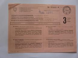 """Ricevuta """"QUIETANZA CONCERNENTE LA TASSA PER LA LIQUIDAZIONE DI SINISTRI"""" 1965 - Switzerland"""