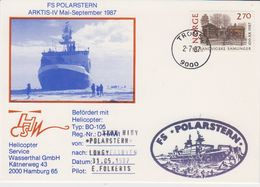 Norway 1987 Arctica Heliflight From Polarstern To Longyearbyen 31.05.1987 Postcard (42333) - Polar Flights