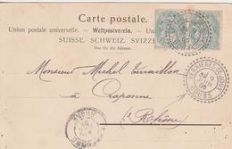 France Joli Cachet Perlé Verrières De Joux Sur Carte 1905 - Postmark Collection (Covers)