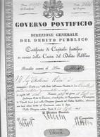 Governo Pontificio Direzione Generale Del Debito Pubblico Certificato Di Capitale Fruttifero COD Doc.081 - Decreti & Leggi