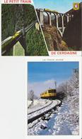 LA TOUR DE CAROL - VILLEFRANCHE DE CONFLENT. 2 CP Le Petit Train De Cerdagne - Le Train Jaune Sous La Neige - Autres Communes