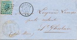 844/28 - Lettre TP 18 Points 192 ISEGHEM 1866 Vers ST GHISLAIN - Signée Vve Carpentier-Tack - NIPA 200 X 3 - 1865-1866 Profil Gauche