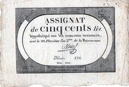 C002 Assignat - 500 Livres Du 20 Pluviôse An 2 (8 Février 1794) Signature Mala TTB+ Grande Marge (Ass-47a, Lafaurie 172 - Assignats & Mandats Territoriaux