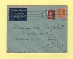 Krag - Paris 24 - 4 Lignes Droites Inegales + Bloc Dateur 4 Lignes - 1925 - Marcophilie (Lettres)