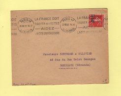 Krag - Paris 48 - Bloc Dateur 1 Ligne Type Pont - La France Doit Sauver Ses Elites - 1927 - Marcophilie (Lettres)