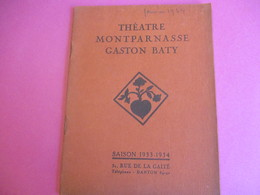 Programme De Théâtre/ MONTPARNASSE/GASTON BATY/Crime Et Châtiment/Dostoievsky/Léonce CORNE/1933-34   PROG217 - Programmes