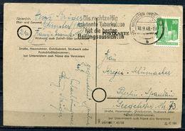 """Germany Alliierte Besetzung Münster1948 Bedarfspostkarte Mit MWST""""Münster-Die Rechtzeitig Erkannte Tuberkulose..""""1 Beleg - Krankheiten"""