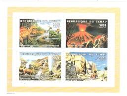 Tchad Mnh ** Sheet Volcan Vulkan Volcan Dinosaure 5euros 1998 - Tschad (1960-...)