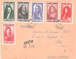 Série Des Hommes Célèbres De 1944 (Yvert N°612 à 617) Sur Lettre Recommandée Provisoire De LODEVE Hérault - Marcophilie (Lettres)