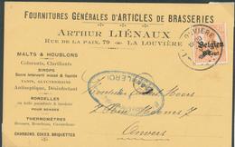 851/28 - BELGIQUE BRASSERIE - Carte Privée TP Germania LA LOUVIERE 1918 - Entete Liénaux , Articles De Brasseries - Bières