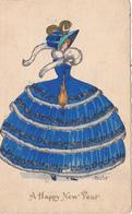 755/ Getekende Kaart, Dame, Douky, A Happy New Year - Illustratoren & Fotografen