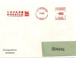 DOUBS - Dépt N° 25 = PONTARLIER 1991 = EMA Illustrée De 2 Oiseaux Sur Un NID = ' SOPAD NESTLE ' - Marcophilie (Lettres)