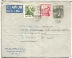 MADRID CC 1950 SELLOS FRANCO MAT HEXAGONAL CORREO AEREO - 1931-Today: 2nd Rep - ... Juan Carlos I