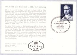 1968 100. Geb. Dr. Karl Landsteiner FDC Karte (ANK 1296, Mi 1266) - FDC
