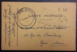 Carte De Franchise Militaire Dépôt D'Infanterie N°65 Mamers Vers Reims Octobre 1940 - Cartes De Franchise Militaire