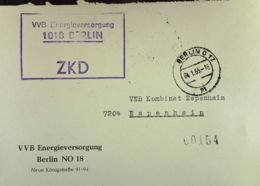 DDR: ZKD-Fern-Brief Mit ZKD-KSt. BERLIN O 17 Vom 04.01.65, Abs. VEB Energieversorgung Nach Espenheim - Service