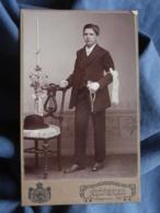 Photo CDV K. Weber à Haguenau I/Els -  Communiant, Chapeau Melon, Circa 1895-1900 L432C - Oud (voor 1900)