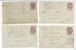 BELGIQUE 4 ENTIERS ENTIER POSTAL STATIONARY SOCIETE DES CARRIERES DE LESSINES Défauts /FREE SHIPPING R - Postales [1871-09]