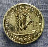 EAST CARIBBEAN TERRITORIES - 5 CENTS - 1960 - Agouz - Caraibi Orientali (Stati Dei)