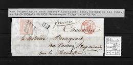 1854-1862 Helvetia (Ungezähnt) Strubel → P.D Brief Saignelegier Nach Russey/F  ►SBK-24B1m.II/III◄ - 1854-1862 Helvetia (Non-dentelés)
