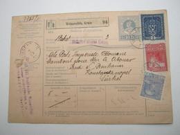 1916 , WEISSENFELS, Krain , Paketkarte Mit Firmenlochungen , 3 Werte , Perfin, Nach Konstantinopel - 1850-1918 Imperium