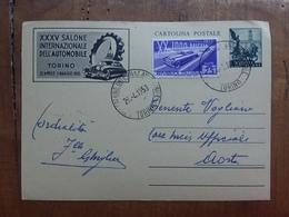 REPUBBLICA - Cartolina Postale Salone Automobile Con Annullo Manifestazione - Viaggiata - Annullo Arrivo + Spese Postali - 6. 1946-.. Repubblica