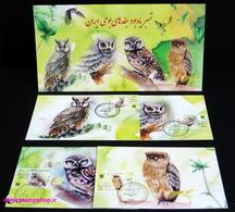 2011 - Pack WWF Owls Sheet ( 1 Sheet + 4 FDC  Stamp + 4 Maxi Cards + 1 FDC Sheet ) - Iran - FDC