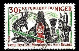 NIGER 174° 30f Vert, Brun-orange Et Noir Festival Mondial Des Arts Nègres à Dakar (10% De La Cote + 0,15) - Niger (1960-...)