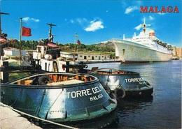 Paquebot Piroscafo Passenger Cruise  Ship Sagafjord. Norwegia America Line. Malaga Port. - Paquebote