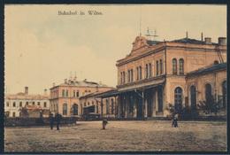 Ansichtskarte Wilna Vilnius Litauen Bahnhof Passanten Ungelaufen - Litauen