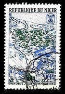 NIGER 196° 90f Outremer, Vert Et Brun-rouge Grenoble Ville Olympique 1968 Chamrousse (10% De La Cote + 0,15) - Niger (1960-...)