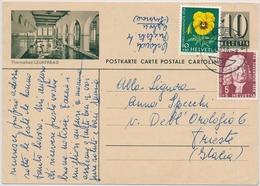 Bildpostkarte (Tehrmalbad Leukerbad) Mit Ausland Zusatzfrankatur Gelaufen Von ARBON Nach TRIEST - Postwaardestukken