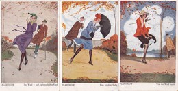 768/ 3x Getekende Kaart, Plantikow, Der Wind, W+B, S+S - Illustratoren & Fotografen
